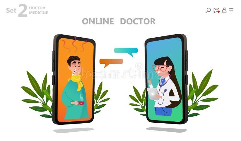 Carácter en línea del doctor o consulta paciente stock de ilustración