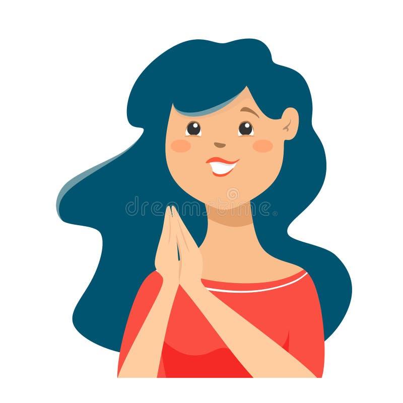 Carácter encantado y alegre de la mujer Una mujer contenta con las palmas dobladas en la anticipación stock de ilustración