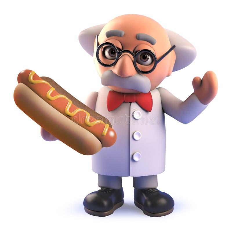 Carácter enojado del científico de la historieta 3d que sostiene un bocado del perrito caliente ilustración del vector