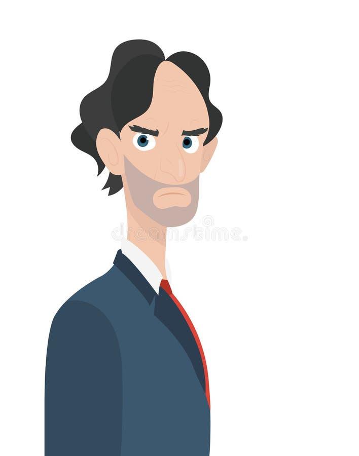 Carácter enojado del jefe del hombre de negocios aislado ilustración del vector
