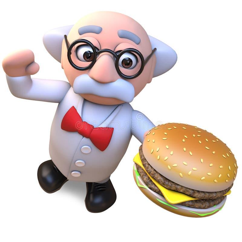 Carácter enojado del profesor del científico que come un bocado gigante de la hamburguesa del queso, ejemplo 3d stock de ilustración