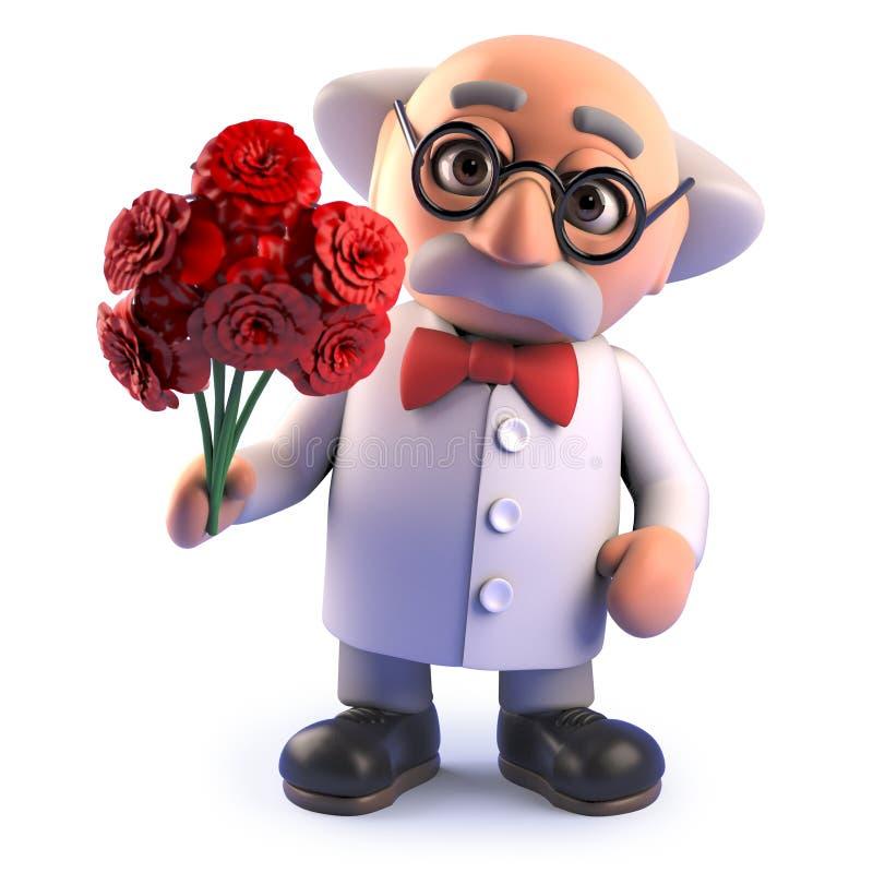 Carácter enojado loco del científico con un ramo romántico de flores, ejemplo 3d ilustración del vector