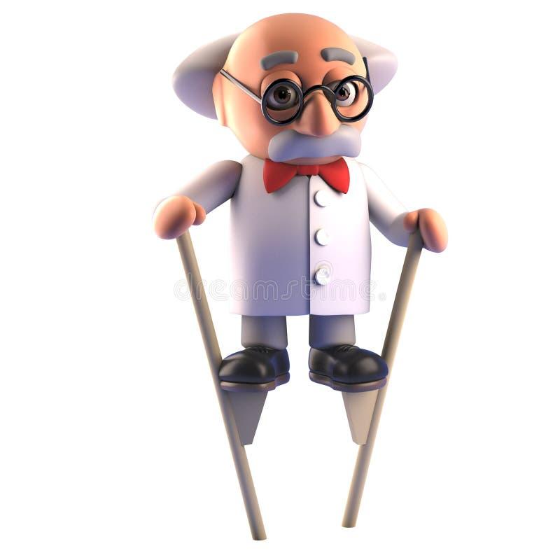 Carácter enojado que camina en los zancos, del profesor del científico del bicho raro ejemplo 3d ilustración del vector