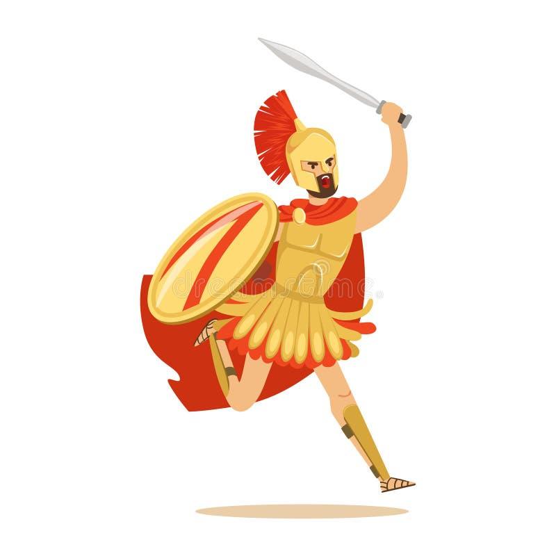 Carácter espartano del guerrero en armadura y cabo rojo que lucha con el escudo y la espada, ejemplo griego del vector del soldad stock de ilustración