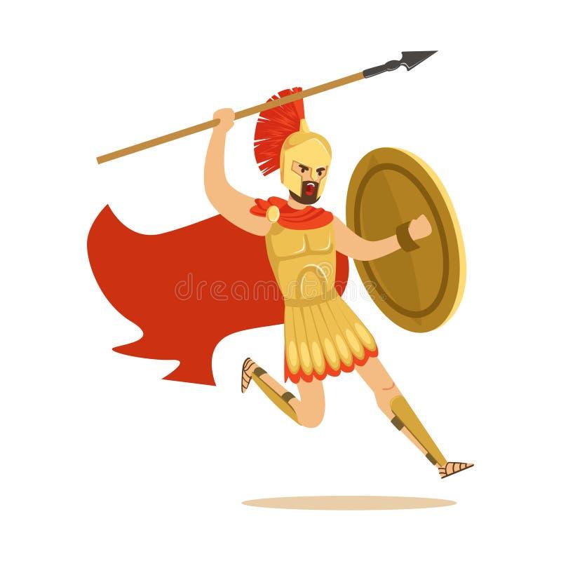Carácter espartano del guerrero en armadura y cabo rojo que lucha con la lanza, ejemplo griego del vector del soldado ilustración del vector