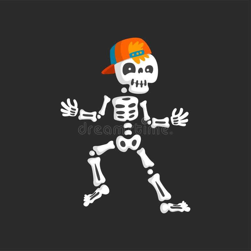 Carácter esquelético espeluznante en el ejemplo del vector del rap del baile de la gorra de béisbol libre illustration