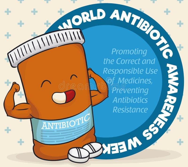 Carácter estupendo de la botella de la medicina que celebra la semana antibiótico de la conciencia del mundo, ejemplo del vector ilustración del vector
