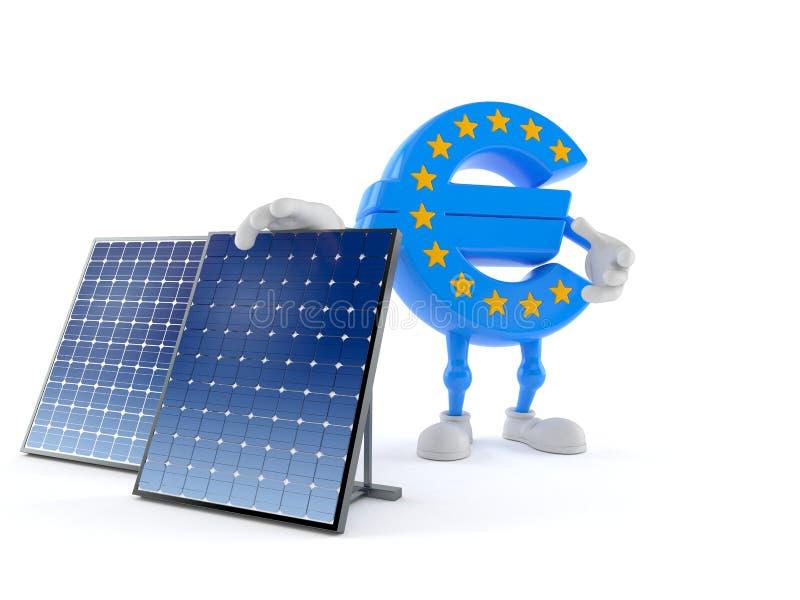 Carácter euro de la moneda con el panel fotovoltaico ilustración del vector