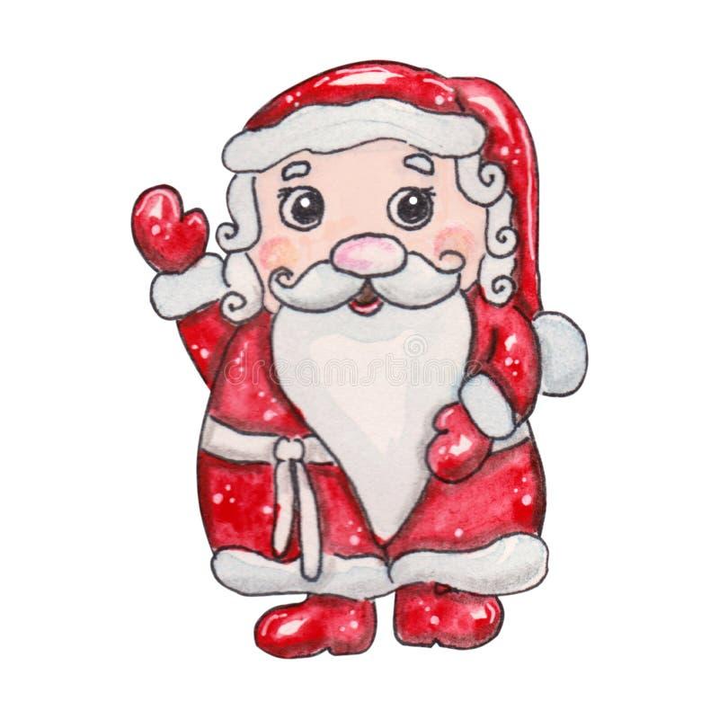 Carácter fabuloso exhausto de la Navidad de la mano de la acuarela ilustración del vector