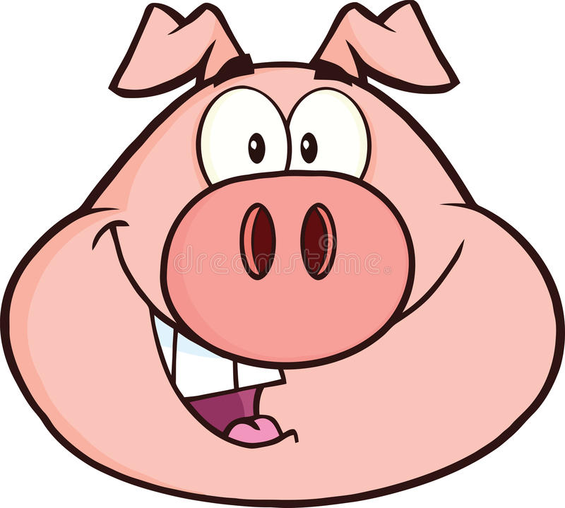 Carácter feliz de la mascota de la historieta de la cabeza del cerdo stock de ilustración