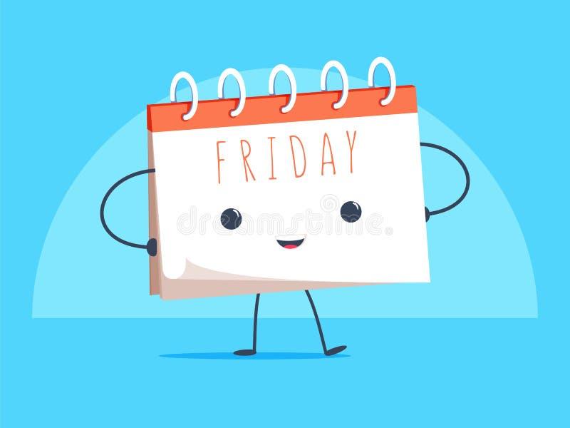 Carácter feliz de la mascota de la historieta del calendario que sonríe en el ejemplo del vector de la página de viernes ilustración del vector