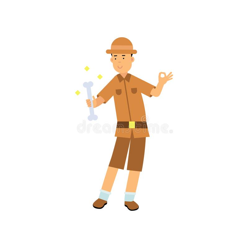 Carácter feliz del arqueólogo que se coloca con el hueso en su mano libre illustration