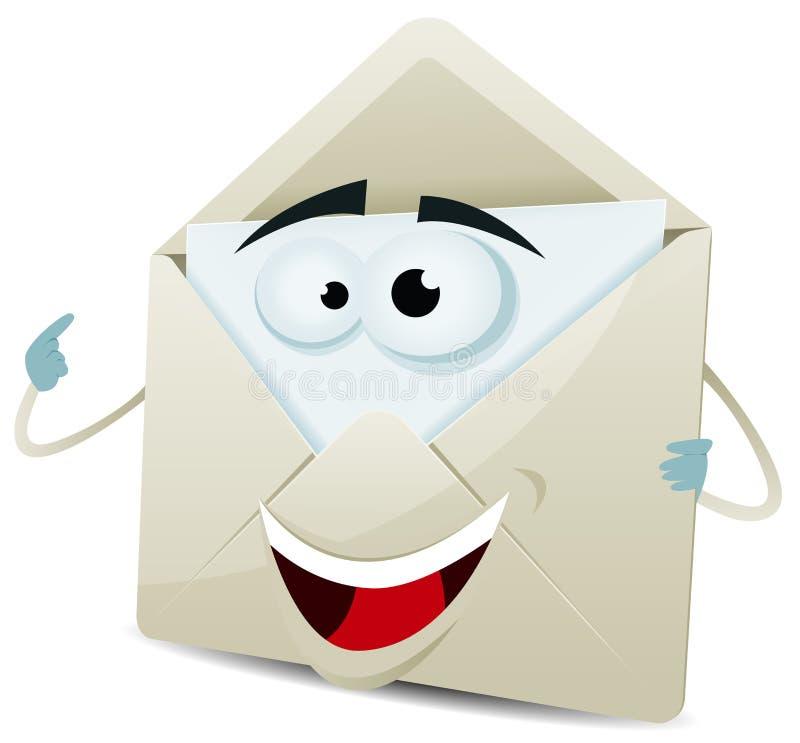 Carácter feliz del correo electrónico de la historieta ilustración del vector