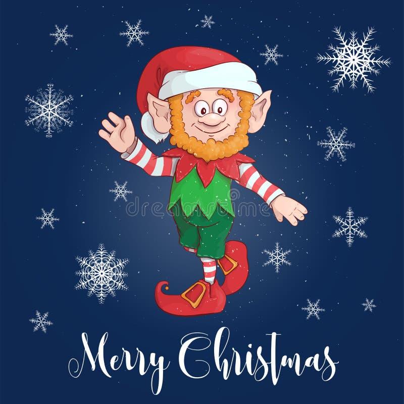Carácter feliz del duende de la historieta de la Feliz Navidad Vector libre illustration