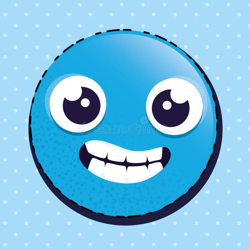 Carácter feliz del emoticon del emoji ilustración del vector