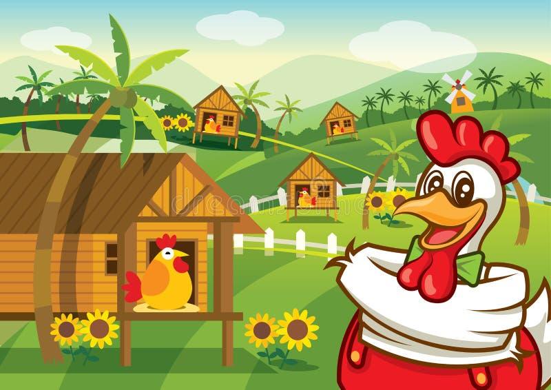 Carácter feliz del pollo de la historieta con el fondo del pueblo de la granja de pollo ilustración del vector