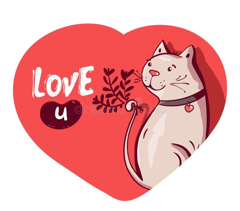 Carácter feliz lindo del gato en flor de la tenencia del amor con poner letras al texto de la caligrafía Quiero U Mano dibujada,  libre illustration