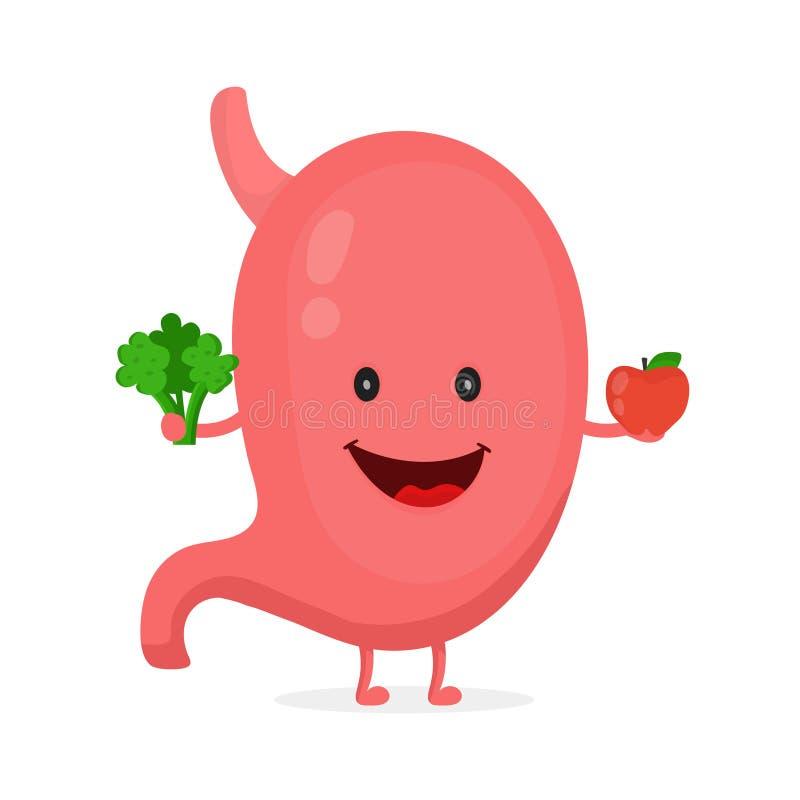 Carácter feliz sano fuerte del estómago ilustración del vector