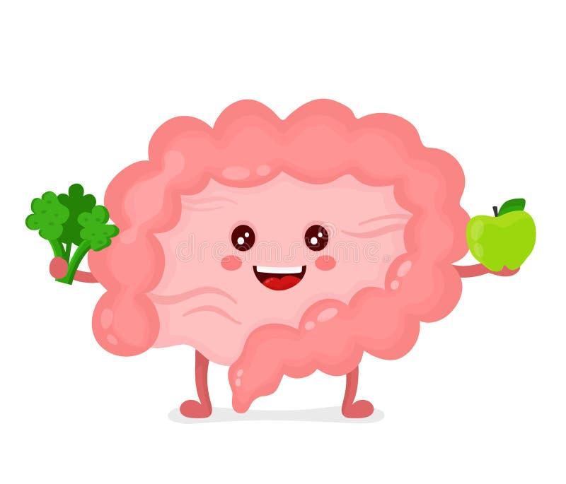 Carácter feliz sano fuerte del intestino ilustración del vector
