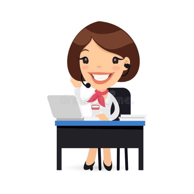 Carácter femenino de la ayuda de la historieta en su escritorio stock de ilustración