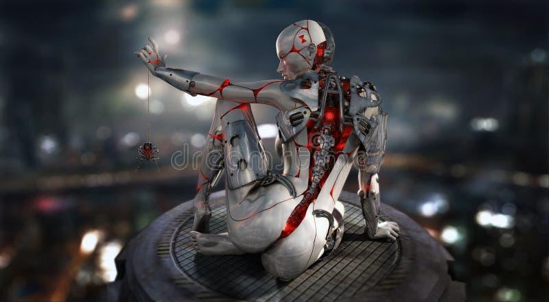 Carácter femenino del cyborg ilustración del vector