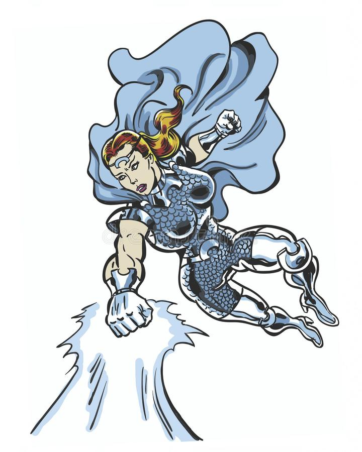 Carácter femenino ilustrado cómic de la onda de choque del poder ilustración del vector