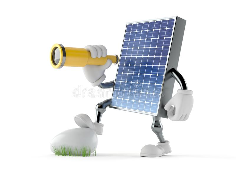 Carácter fotovoltaico del panel que mira a través de un telescopio stock de ilustración
