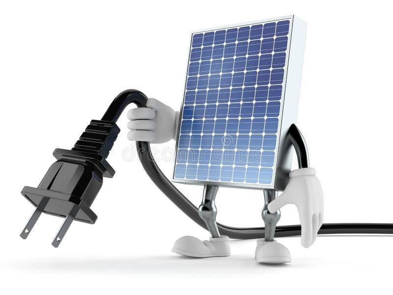 Carácter fotovoltaico del panel que sostiene el cable eléctrico libre illustration