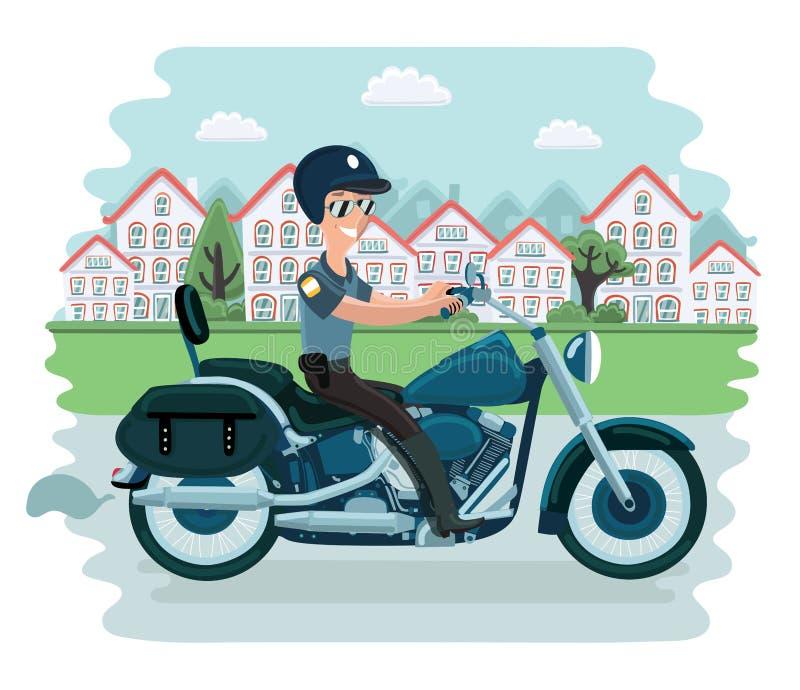 Carácter fresco del oficial de policía que se sienta en la motocicleta Ejemplo plano de la historieta del vector ilustración del vector