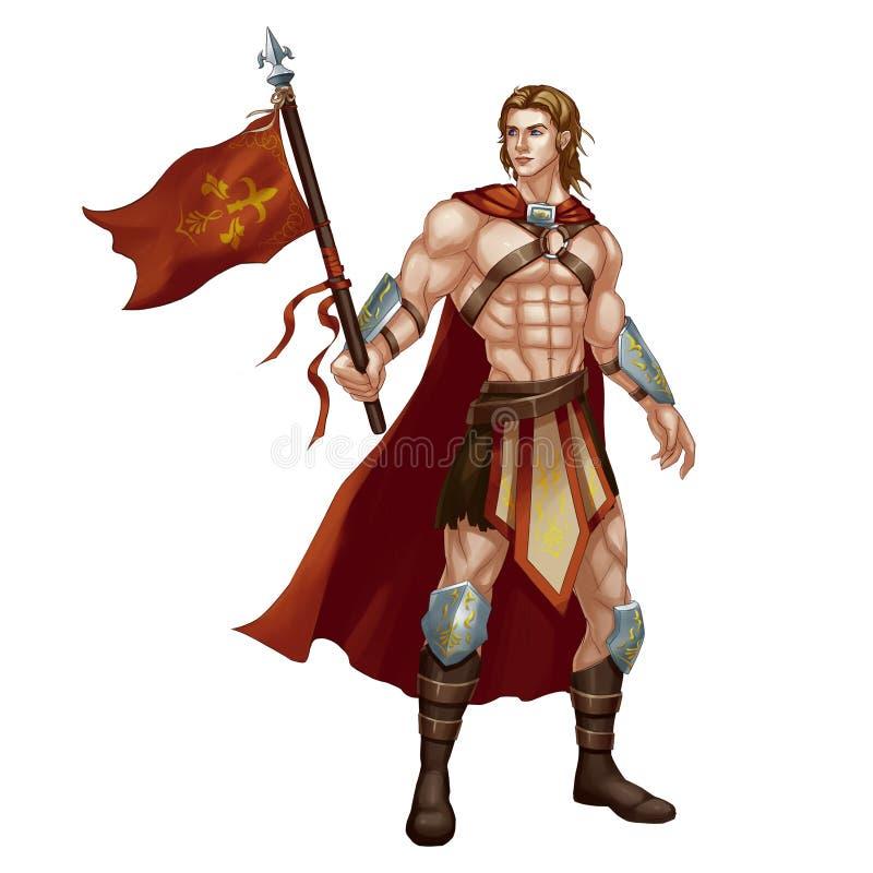 Carácter fresco: Hombre hermoso, portador estándar, dios de guerra aislado en el fondo blanco ilustración del vector