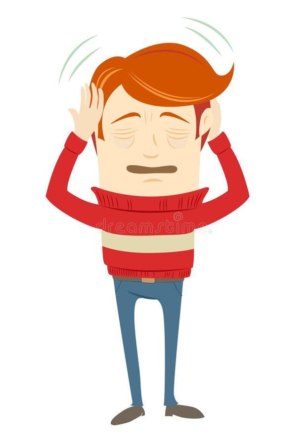 Carácter frustrado del inconformista que sufre de un dolor de cabeza que lleva s ilustración del vector