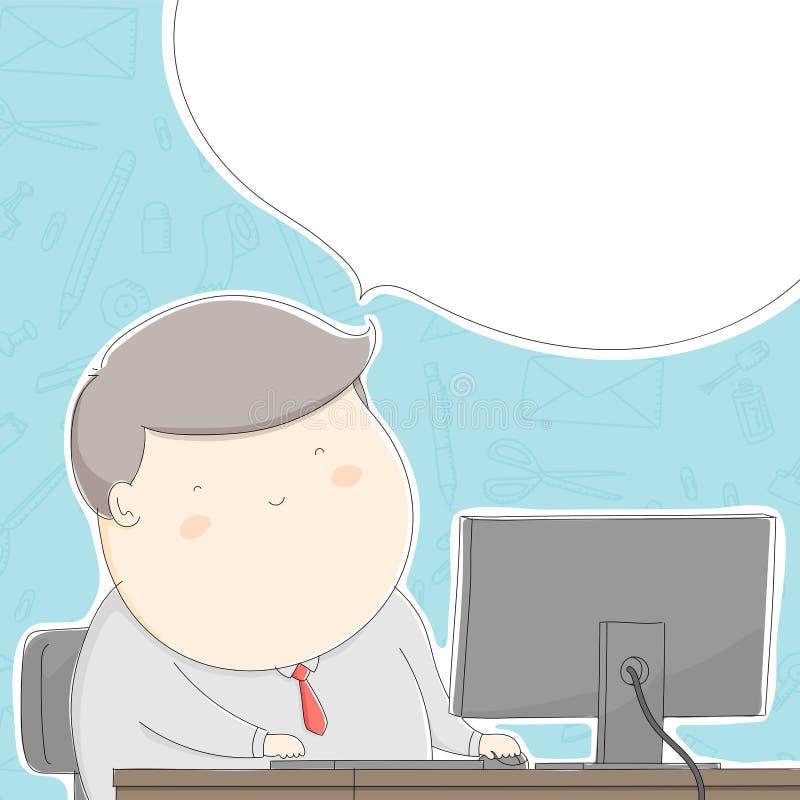 Carácter gordo del hombre de la oficina feliz con el trabajo, desi del concepto de la forma de vida ilustración del vector