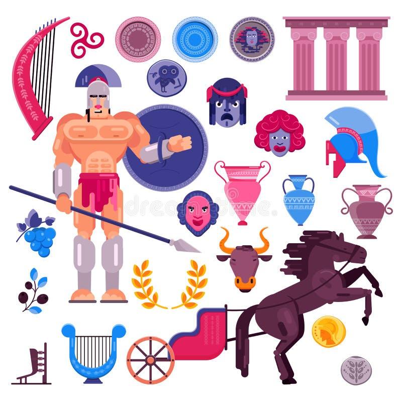 Carácter griego del guerrero romano del vector del gladiador en armadura con el arma y el escudo históricos en el ejemplo antiguo stock de ilustración