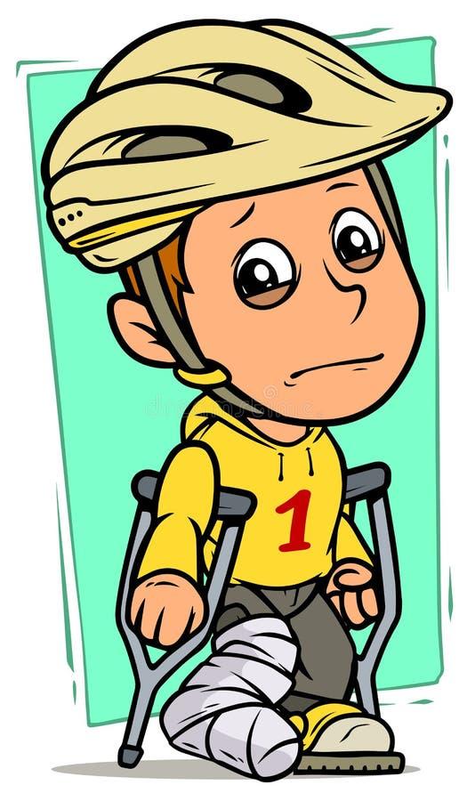 Carácter gritador del muchacho de la historieta con la pierna quebrada ilustración del vector