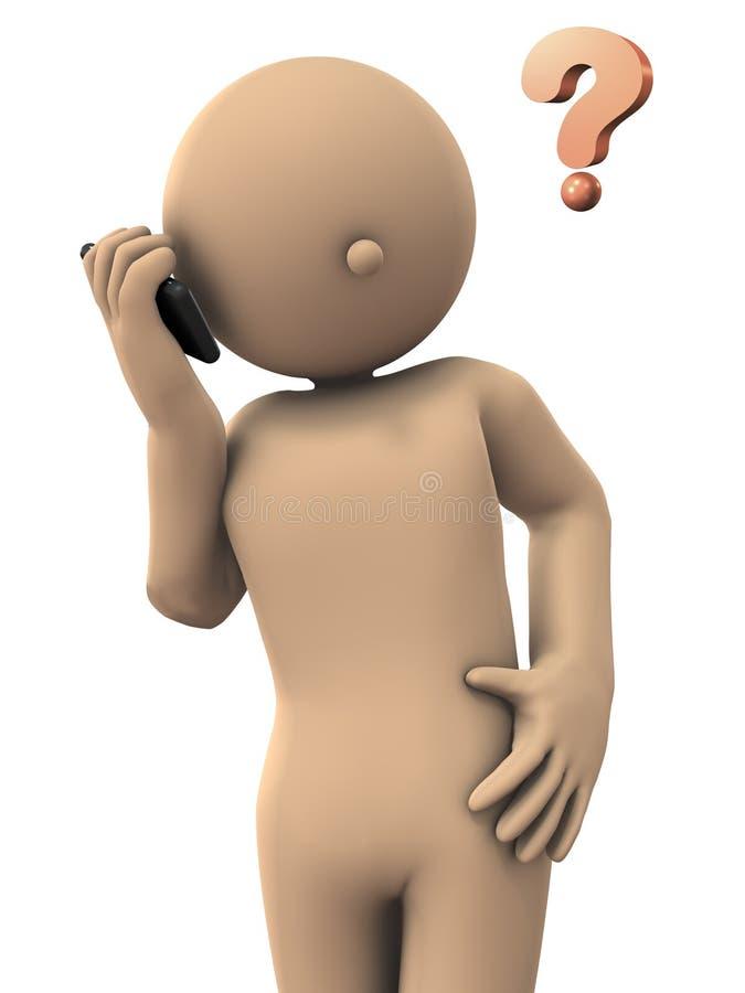 Carácter a hablar en un smartphone ilustración del vector