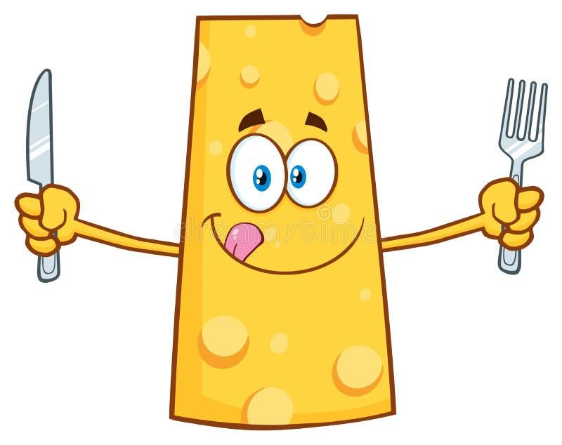 Carácter hambriento de la mascota de la historieta del queso que sostiene un cuchillo y una bifurcación ilustración del vector