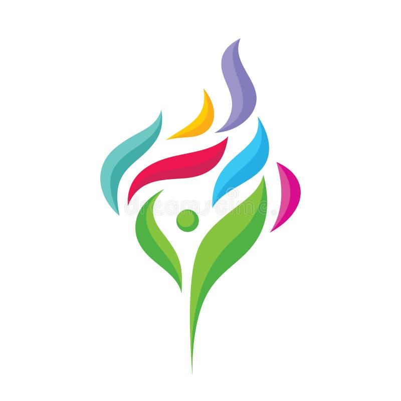 Carácter humano abstracto con los pétalos coloreados - vector el ejemplo del concepto de la plantilla del logotipo Muestra creati libre illustration
