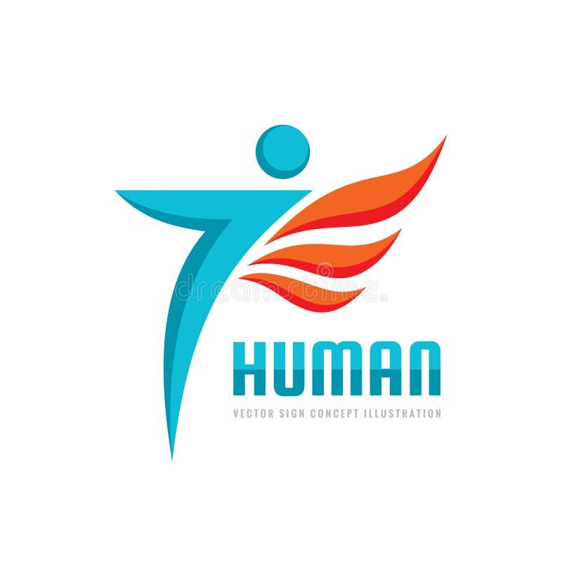Carácter humano abstracto - vector el ejemplo del concepto de la plantilla del logotipo muestra creativa Elemento del diseño stock de ilustración