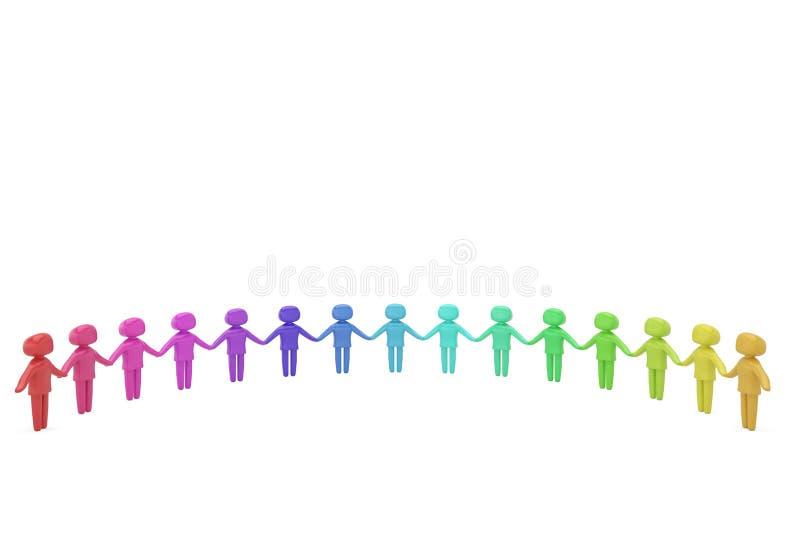 Carácter humano colorido que celebra el ejemplo de las manos 3D libre illustration