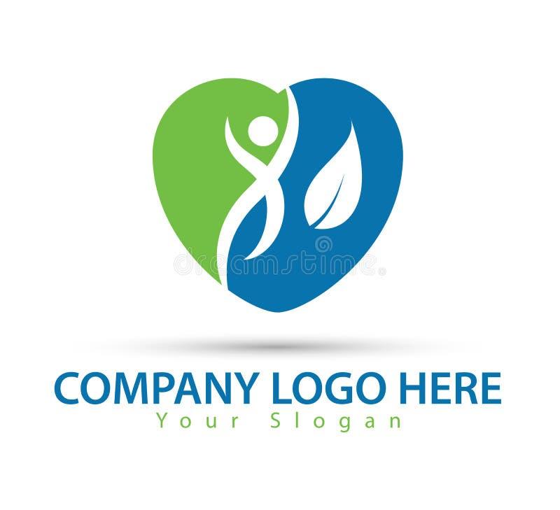 Carácter humano con nuevo vector de moda del logotipo de las hojas verdes libre illustration