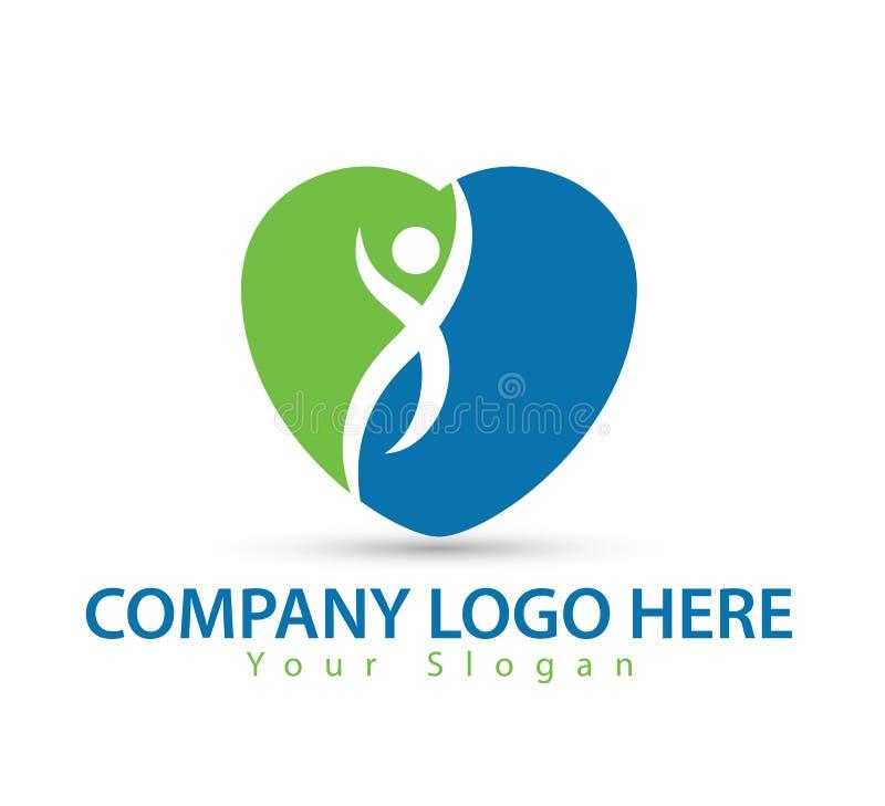 Carácter humano con vector verde del logotipo del concepto stock de ilustración