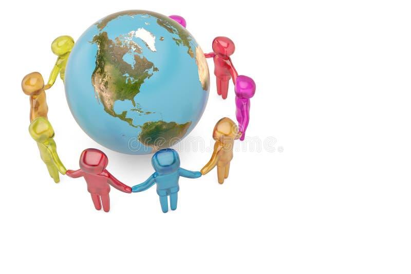 Carácter humano que lleva a cabo a la comunidad c del mundo de las manos en el mundo entero stock de ilustración