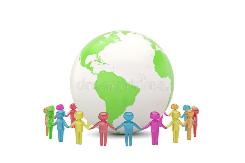 Carácter humano que lleva a cabo a la comunidad c del mundo de las manos en el mundo entero ilustración del vector