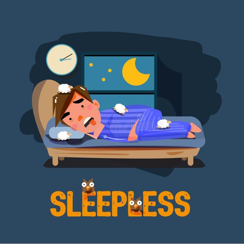 Carácter insomne del hombre en la cama con la mala sensación emocional C ilustración del vector