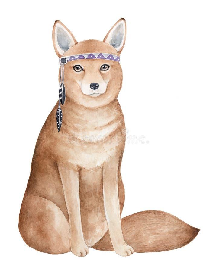 Carácter inteligente listo del zorro que lleva el sombrero emplumado con el ornamento púrpura libre illustration