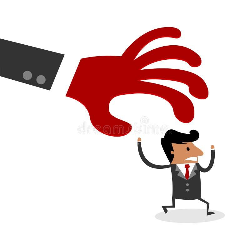 Carácter internacional del hombre de negocios perseguidor por la mano enorme del rojo del miedo stock de ilustración