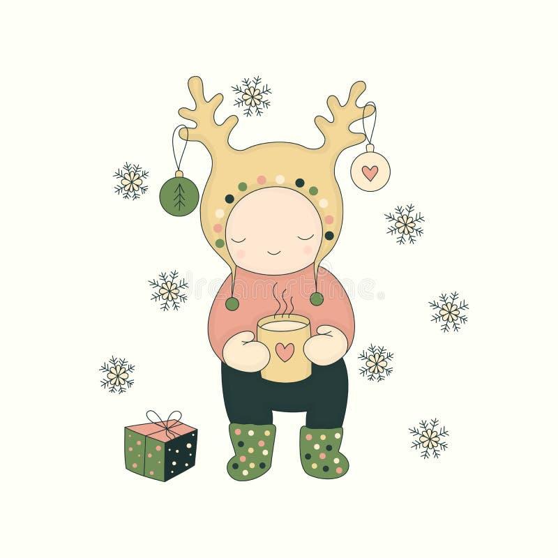 Carácter lindo con té y el regalo ilustración del vector