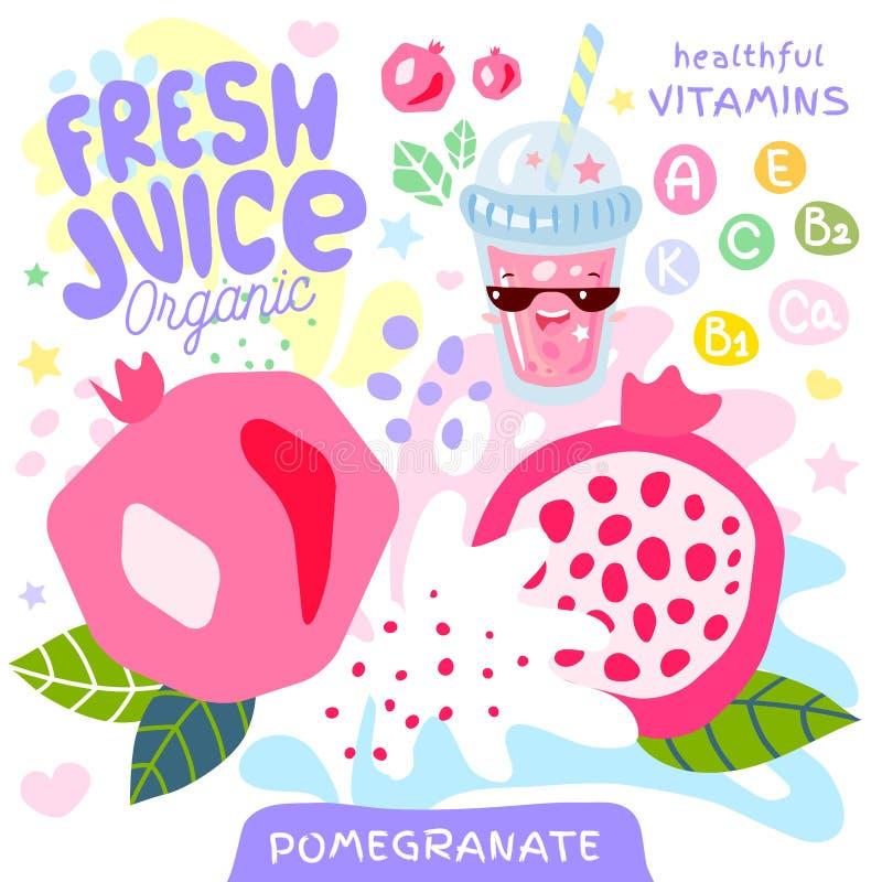 Carácter lindo de cristal orgánico del kawaii del jugo fresco Taza exótica tropical de los smoothies del yogur de la granada Ilus libre illustration