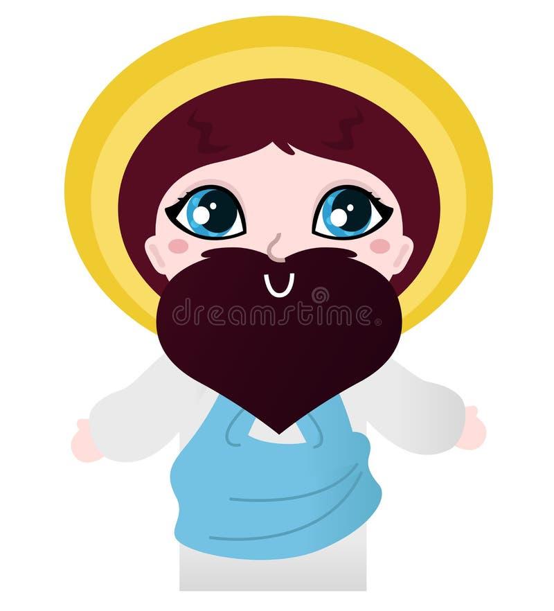 Carácter lindo de Jesus Christ ilustración del vector