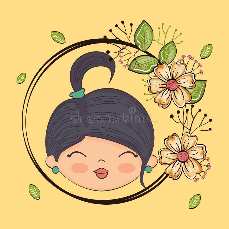 Carácter lindo de la cabeza de la muchacha con el marco floral ilustración del vector